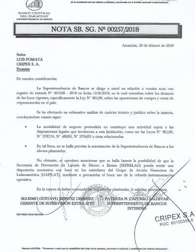 Banco Central del Paraguay - Superintendencia de Bancos - SB. SG. Nro. 00257/2018