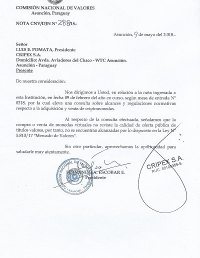 Secretaria de Prevención de Lavado de Dinero – Seprelad SB Nro. 176/2018