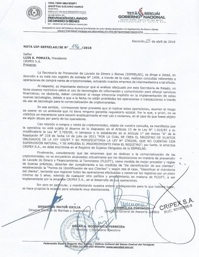 Comisión Nacional de Valores CVN/DJN Nro. 288/18